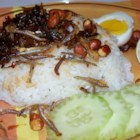 Malaysian Nasi Lemak - Delicious Malaysian coconut rice, served with anchovy hot chile sauce, fried anchovies, fried peanuts, sliced cucumber or tomato, and hard-boiled egg.