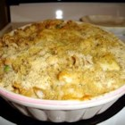 Cheesy Tuna Mornay - A cheesy Mornay with peas and corn. A great quick dinner that has everything in one dish.