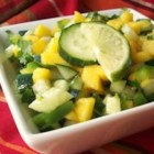 Cucumber-Mango Salsa - This is a salsa my friend from Trinidad taught me when I was in the navy. We serve this at all Super Bowl parties and picnics in our family! Delish!
