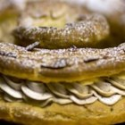 Paris-Brest - I love the classics. This is a spectacular confection! Named for a bicycle race run between the two cities of Paris and Brest, this wheel-shaped pastry of choux paste is hands down impressive. The classic version is made with a praline-flavored center but this pastry cream version is just as tasty.