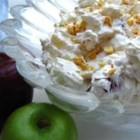 Taffy Apple Salad III -  Pineapple, Spanish peanuts and lots of chopped apples are folded into whipped topping and a nice, thick cooked pineapple juice dressing. Chill for an hour and serve to twelve for dessert.