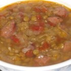 Lentil and Smoked Sausage Soup - A hearty soup, packed with lentils, smoked vegetarian sausage, onion, cabbage, and tomatoes.