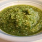Salsa De Tomatillo - This is the 'salsa de tomatillo' that I grew up with. It can be used as a sauce for grilled chicken, fish or shrimp, as the basis for green chilaquiles (pour over tortilla chips, shredded cooked chicken and shredded Monterey Jack, then heat under the broiler), and as a dipping sauce for chips. Delicioso!
