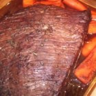 Beef Brisket My Way - Brisket is marinated in a red wine and vinegar blend then slow roasted in the oven until fork tender. I wanted to find a way to make beef brisket that wasn't a BBQ recipe but wasn't just plain beef either. This is what I came up with and my family LOVED it.