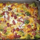Mouth Watering Medley - A hearty vegetable and ham breakfast casserole made with broccoli, ham, Cheddar cheese and eggs.