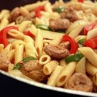 Bow Tie Pasta with Sausage and Sweet Peppers - Bow tie pasta in a sausage, bell pepper broth.