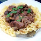 Beef Burgundy III - I made this simple dish for my boyfriend, and by the end of the meal, I could tell I had graduated to 'prospective mate' status.  Chunks of beef sirloin are simmered in mushroom-Burgundy sauce.