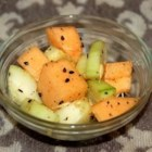 Cucumber and Cantaloupe Salad - Sweet, crunchy, delicious! This salad is easy to make and easy to eat. It's great as a snack or side-dish.