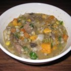 Melanie's Beef Barley Soup - Frozen vegetables are paired with fresh onion, carrots, potatoes, and mushrooms for a beef barley soup that is both filling and nutritious.  Requires 60 - 90 minutes of low simmer time.
