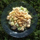 Chicken Cashew Salad - This is a great summer pasta salad for barbeques and more. It has a slightly sweet, creamy dressing, and is loaded with chicken, cashews, and crunchy veggies.