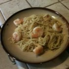 Amaretto Shrimp Almandine - Shrimp and pasta in a sweet, buttery, Amaretto sauce with sliced almonds.