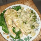 Special Salmon Steaks - AFTER our children were married and gone, I prepared this entree often for my husband and me, especially on our anniversary. It was one of our favorites.    We found that one of the nicest ways to enjoy each other's company was to have a great meal together. -Ruby Williams, Bogalusa, Louisiana