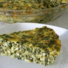 Spinach Quiche - A simple crust-less quiche with spinach, green onions and two cheeses.