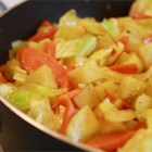 Ethiopian Cabbage Dish - This Ethiopian dish is made with potatoes, cabbage, onion, and carrots.