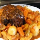 Cola Pot Roast II - Dried onion soup mix, condensed cream of mushroom soup and packaged brown gravy mix make this cola-flavored pot roast easy to prepare.