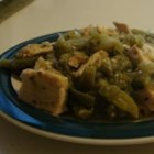 Pollo con Nopales (Chicken and Cactus) - This recipe makes chicken and nopales (cactus) in a sauce made of pureed tomatillos and jalapeno peppers.