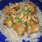 Springfield Style Cashew Chicken I - Fried chicken is topped with an Asian-style mild gravy composed of oyster and soy sauces with chicken broth.  An abundance of cashews adds crunch and sweetness.