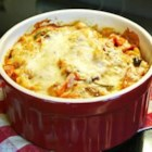 Pasta Isabarte - A colorful and tasty dish with ziti pasta, a variety of vegetables, egg, Mozzarella and red sauce.