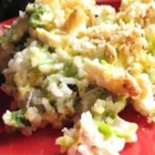 Broccoli, Rice, Cheese, and Chicken Casserole - A meal-in-one casserole with chicken, rice, broccoli, cheese, onion, and creamy soups all baked into one dish. May be made ahead and frozen.