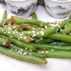 Quick Sesame Green Beans - This is my interpretation of the green beans from my favorite Japanese restaurant. Serve with a grilled steak! You can omit the miso paste if you choose.