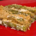 Asparagus with Junk - A simple topping of mayonnaise, bread crumbs, and Parmesan cheese dresses up lightly steamed and baked asparagus, but doesn't take away from the fresh flavor.