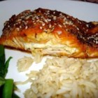 Sara's Soy Marinated and Cream Cheese-Stuffed Salmon - A sweet-savory soy sauce marinade sets the stage for these cream cheese and green onion-stuffed salmon fillets or steaks. Oven-baked, and finished with a splash of teriyaki sauce and a sprinkling of sesame seeds, they guarantee applause for the cook.