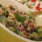 Tortellini Bacon Broccoli Salad - A pasta salad made with cheese tortellini, bacon, and broccoli makes a flavorful side dish, and it's hearty enough to make a lunch or light meal, too.