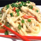 Udon Peanut Butter Noodles - Rotisserie chicken joins udon noodles in a creamy sauce in this quick main dish.