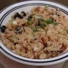 Quinoa Salad with Dried Fruit and Nuts - This is an unusual and tasty high-protein grain salad. Quinoa is a grain that has almost no flavor, but the spices add zest. It's well worth trying, I make it often since discovering quinoa at my health food store.