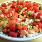 Watermelon Salsa - A simple salsa that is sweet and just mildly spicy. This is made with watermelon, Anaheim pepper, onion and balsamic vinegar. Hotter chilies can be substituted for more spice.