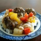 Lana's Sweet and Sour Meatballs - Beef meatballs in a pineapple and brown sugar sauce with pineapple chunks, carrot, and green pepper. It's great as a main dish, but can also be used as an appetizer.