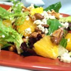 Orange, Walnut, Gorgonzola and Mixed Greens Salad with Fresh Citrus Vinaigrette - This summery salad is made with salad greens, fresh oranges, red onions, glazed walnuts, and Gorgonzola cheese, then topped with a homemade citrus vinaigrette.