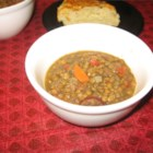 Kris' Lentil Sausage Soup - Hearty lentil soup with kielbasa and veggies--so easy to prepare and oh, so good!