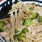 Spaghetti with Broccoli and Chicken - Get out your garlic press, squeeze the essence from one clove of garlic and mix it with olive oil. Toss this pungent blend with bits of grilled chicken, cooked broccoli, hot spaghetti, salt, pepper and Parmesan cheese for an quick and tasty feast.