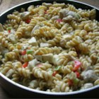 Chicken Rotini Stovetop Casserole - Pasta noodles tossed with chicken, bell pepper and a creamy herb sauce--all prepared on the stovetop! A very quick and easy recipe.