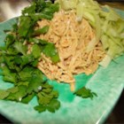 Sesame Peanut Noodle Salad - Cold egg noodles are tossed with fresh cilantro and cucumber and dressed with a tangy peanut sauce to make a delightful summertime treat in this recipe.
