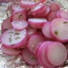 Grilled Radishes - Sliced radishes are grilled in a foil packet with garlic and butter. It's a terrific, simple side dish!