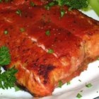 Bloody Mary Salmon - Spicy bloody mary mix brings a surprisingly tasty tang to broiled salmon fillets! This recipe is quick, simple and delicious, requiring approximately 30 minutes for marinating.
