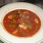 Catfish Gumbo - Catfish stew with celery, green pepper, onion, tomatoes, and okra. Serve over rice.