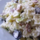Ranch, Bacon, and Parmesan Pasta Salad - A savory cold pasta salad with the pleasing tastes of bacon and ranch dressing is a natural to bring to a potluck or cookout.