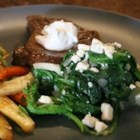 Wilted Spinach with Cherries and Goat Cheese - A quick turn in a skillet with mushrooms, onion, and dried cherries cooks spinach, but preserves its great fresh flavor. Top with goat cheese, and serve as a side dish or over pasta.