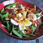 Spinach Salad with Warm Bacon-Mustard Dressing - This is a classic steakhouse-style spinach salad with the absolute best warm bacon-mustard dressing I've ever had! Looks and tastes like a lot of work, but can be prepared in no time! This salad can easily be converted to a main dish salad by adding strips of grilled chicken breast.