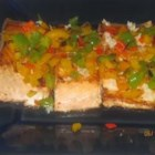 Pan Seared Salmon II - Pan fried salmon filets with a garlic and lemon sauce, covered with bell peppers.