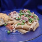 Pasta with Peas and Sausage - Rigatoni pasta in a creamy sausage sauce with green peas.