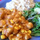 Vegetarian Chickpea Curry with Turnips - Chickpeas (garbanzo beans), turnips, and corn combine in this warming meal.  It's a meaty dish, with a hint of curry and cumin flavor.  Serve on it's own or on some basmati rice. I hope you enjoy it as much as I do!