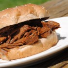 Great Brisket - Brisket is marinated in apple and orange juices, then dry rubbed with packaged spice mix, and refrigerated overnight. It is then baked for 8 to 10 hours.