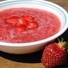 Strawberry Soup IV - White wine, sugar and orange juice are blended with fresh strawberries in this chilled fruit soup.