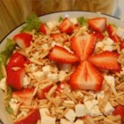 Strawberry and Feta Salad - A lively mixture of lettuce, strawberries, almonds, and feta is tossed with a tangy oil and vinegar dressing!