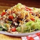 San Antonio Salad - A wonderful 'Heart of Texas' salad that makes a great meal! Seasoned ground beef, iceberg lettuce, tomatoes, pinto beans are just starters!