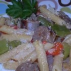 Italian Sausage Delight! - Italian sausage is stir-fried with peppers and mushrooms then served over pasta with a generous sprinkling of Parmesan cheese. My husband who loves Italian dishes was getting bored with the same ones, so I made this one day for dinner and the whole family loved it!  I hope you will too!